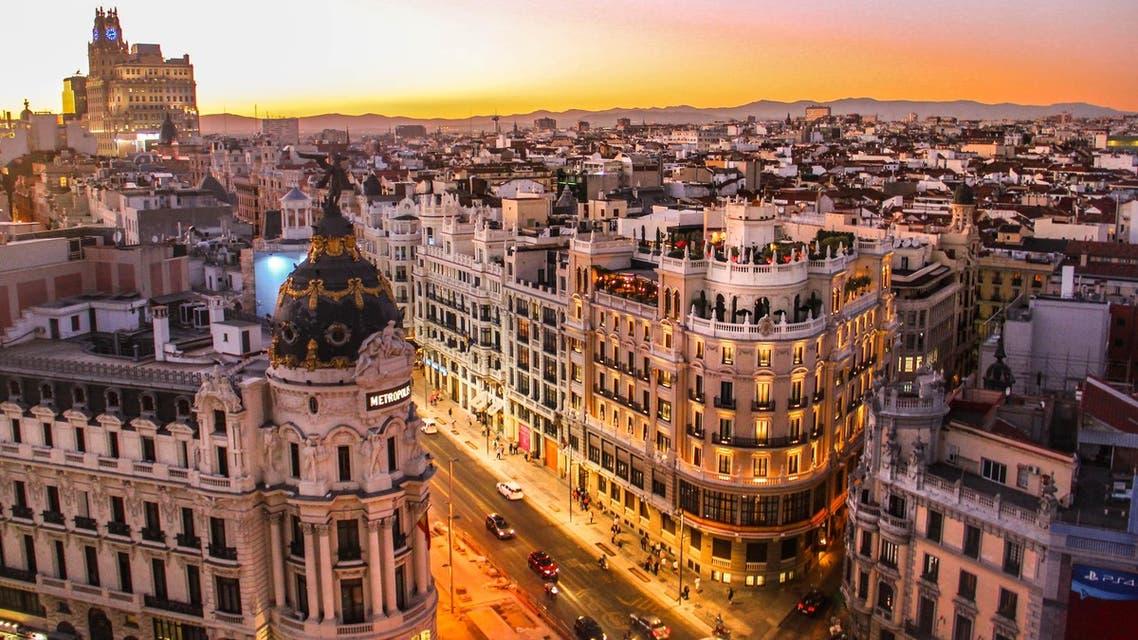 Sunset view of Gran Via in Madrid. (Unsplash, Florian Wehde)