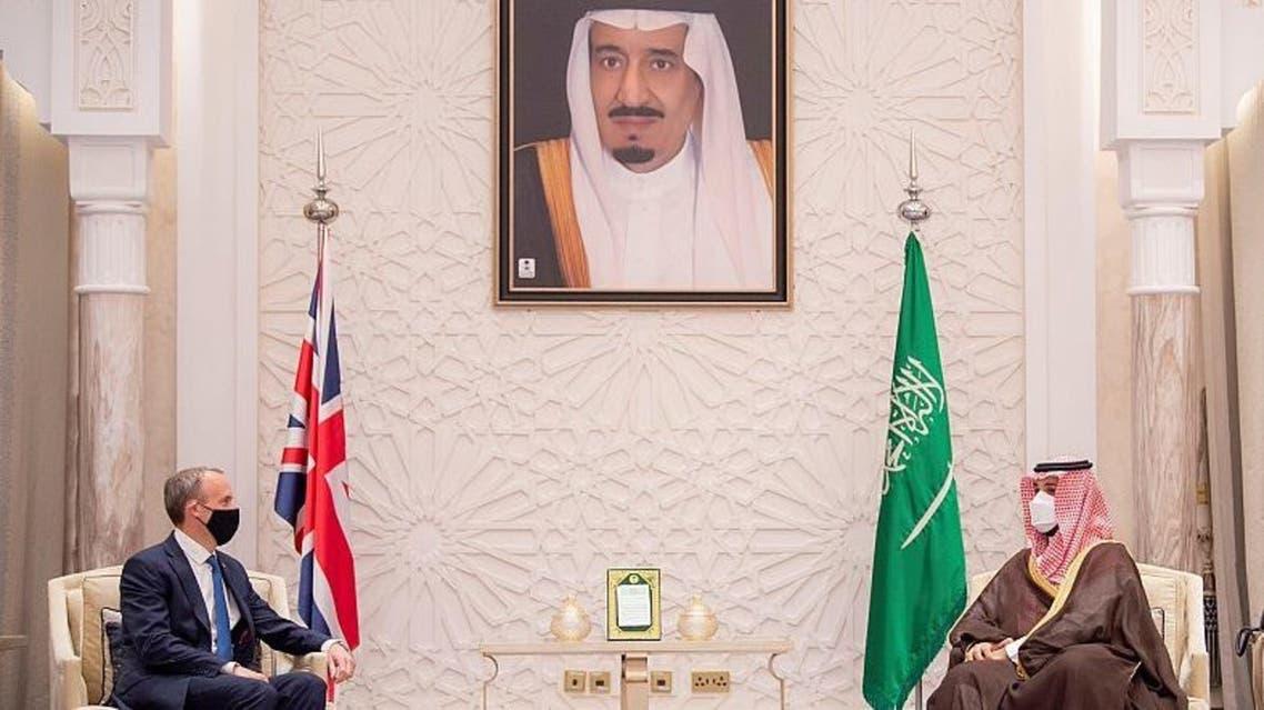 Saudi Arabia's Crown Prince Mohammed bin Salman on Monday met with British Foreign Secretary Dominic Raab in Neom. (SPA)