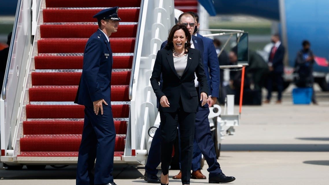 U.S. Vice President Kamala Harris gets off the Air Force Two, after technical difficulties that made her change planes for her first international trip as Vice President to Guatemala and Mexico, at Joint Base Andrews, Maryland, U.S., June 6, 2021. (Reuters/Carlos Barria)