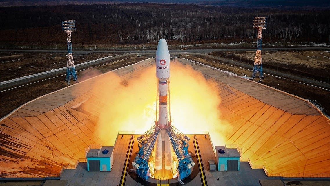 A Soyuz-2.1b rocket booster with a Fregat upper stage and satellites of British firm OneWeb blasts off from a launchpad at the Vostochny Cosmodrome in Amur Region, Russia March 25, 2021. (Reuters)
