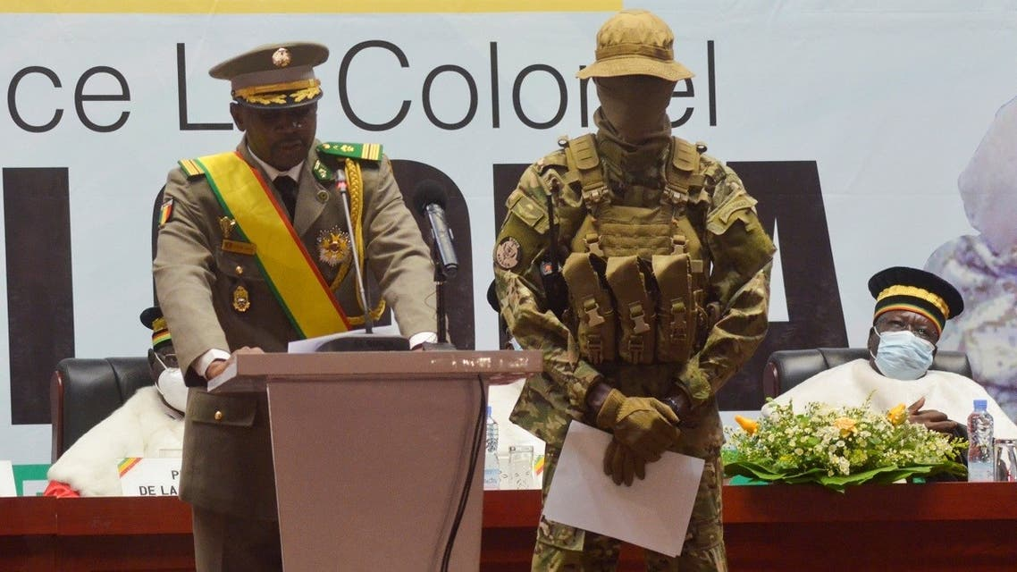Colonel Assimi Goita, leader of two military coups and new interim president, speaks during his inauguration ceremony in Bamako, Mali June 7, 2021. (Reuters/Amadou Keita)