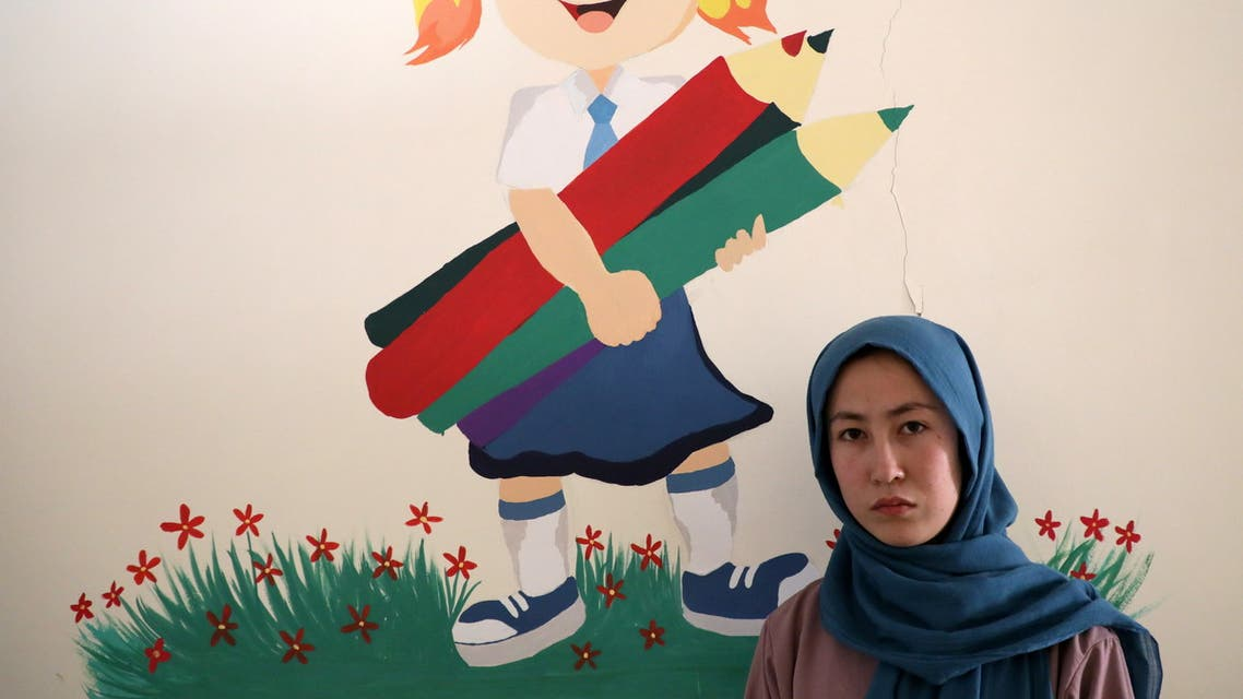 Fatima Noori, 15, poses for a photo as she arrives to attend psychotherapy class after a massive bomb exploded outside her school, that killed at least 80 students in Kabul, Afghanistan May 26, 2021. Picture taken May 26, 2021. (Reuters)