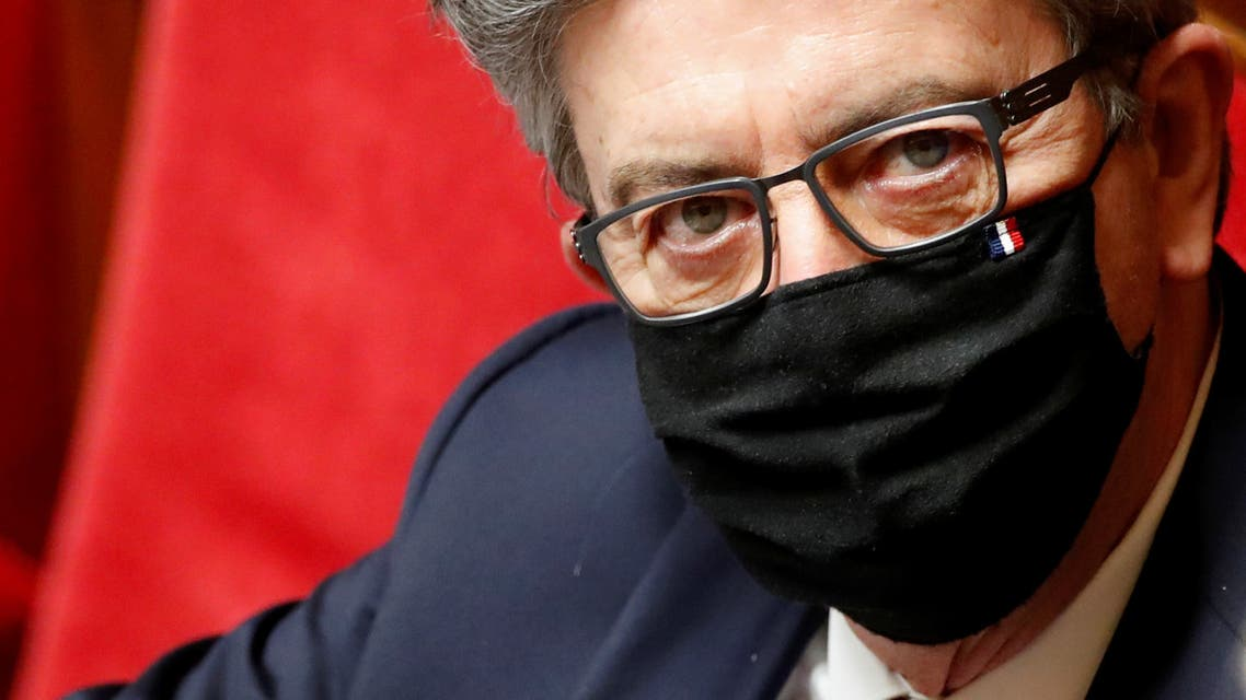 Jean-Luc Melenchon, leader of far-left opposition La France Insoumise (France Unbowed) political party and member of parliament, wearing a protective face mask, is seen after the speech of French Prime Minister Jean Castex to unveil the new government policy at the National Assembly in Paris, France, July 15, 2020. (Reuters)
