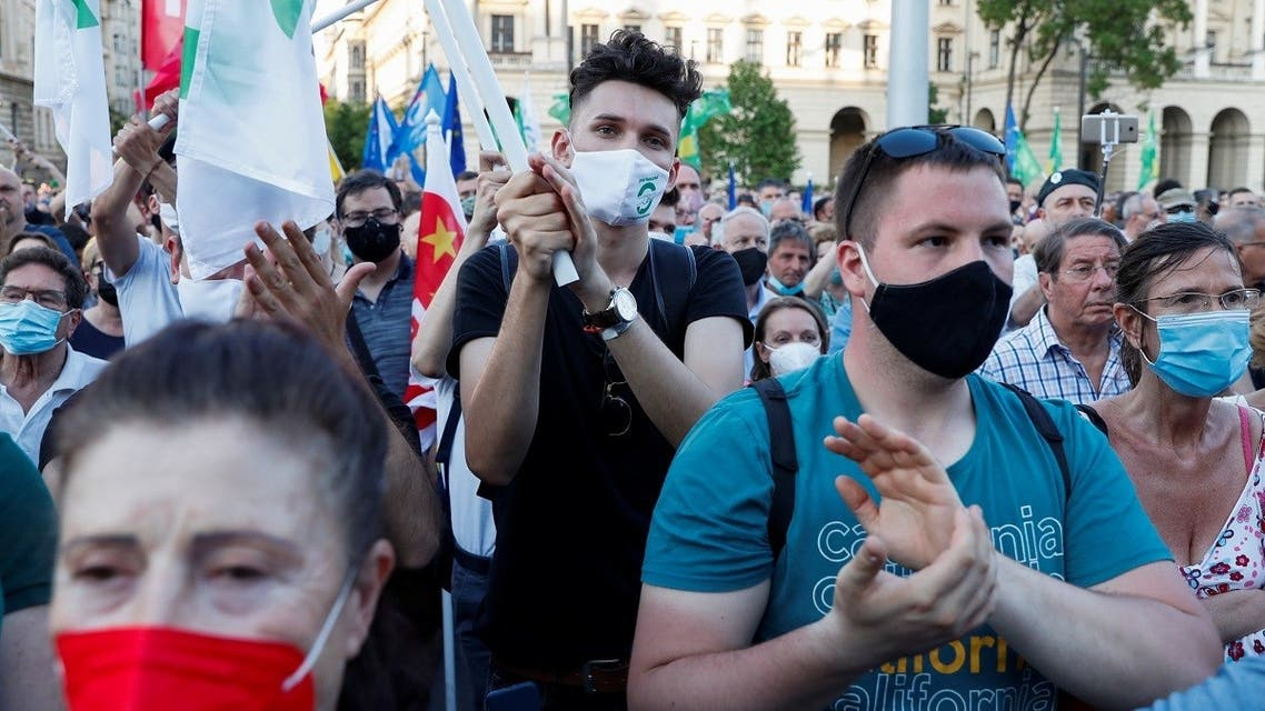 Demonstrators protest against the planned Chinese Fudan University campus in Budapest, Hungary, on June 5, 2021. (Reuters)