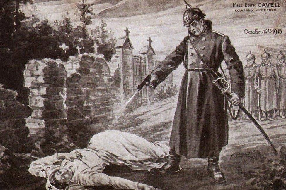رسم تخيلي لحادثة إعدام الممرضة البريطانية
