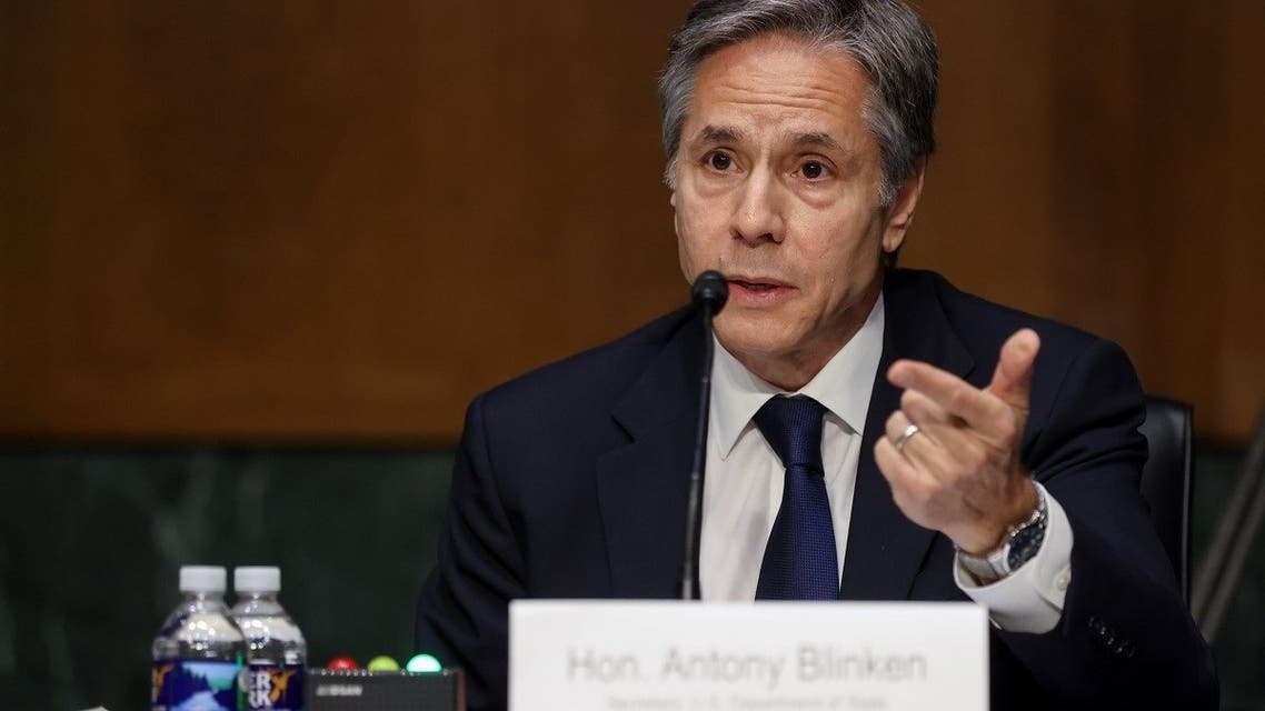 Secretary of State Antony Blinken testifies about the State Department budget before the Senate Appropriations Committee, June 8, 2021. (Reuters)