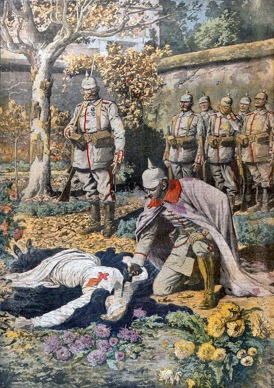 رسم تخيلي لعملية إعدام الممرضة إديث كافيل