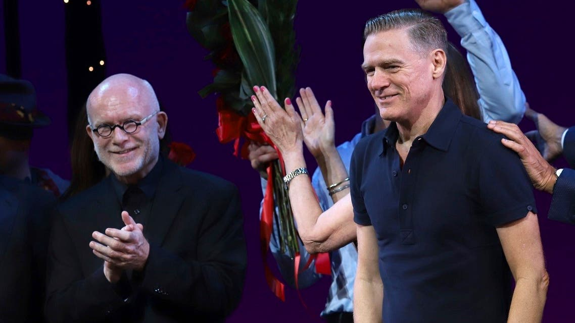 """Jim Vallance, (left), and Bryan Adams participate in the """"Pretty Woman: The Musical"""" Broadway opening night curtain call at the Nederlander Theatre, in New York. (AP)"""