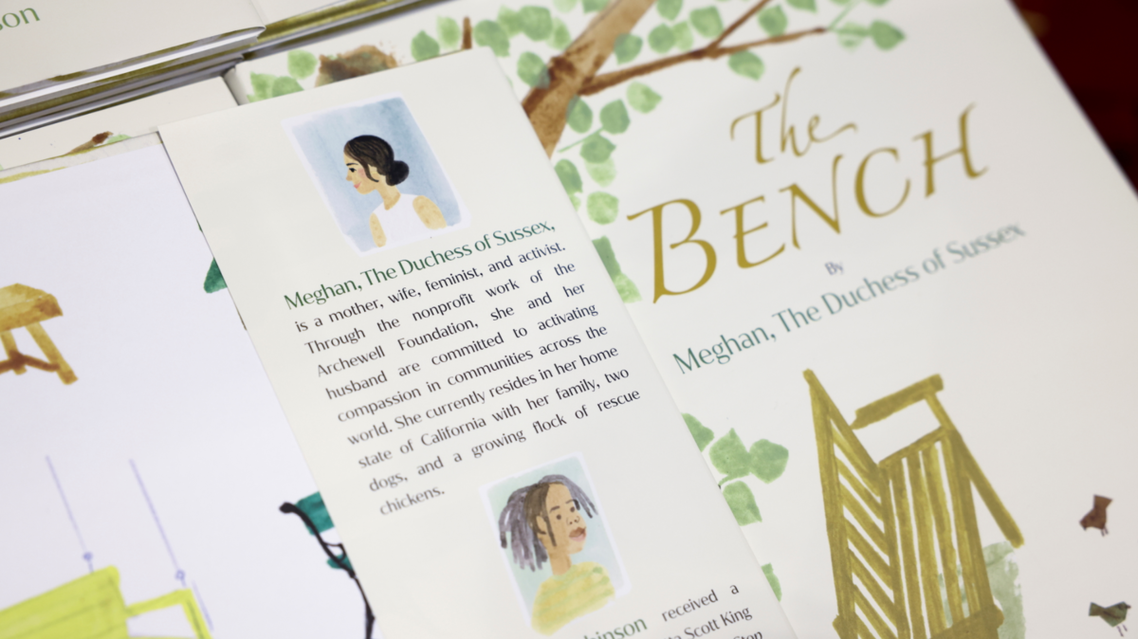 Copies of The Bench, a children's book written by Meghan, Britain's Duchess of Sussex, are displayed at a Waterstones store in London, Britain, June 8, 2021. (Reuters)