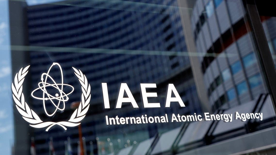 The logo of the International Atomic Energy Agency (IAEA) is seen at their headquarters during a board of governors meeting, amid the coronavirus disease (COVID-19) outbreak in Vienna, Austria, June 7, 2021. (Reuters)
