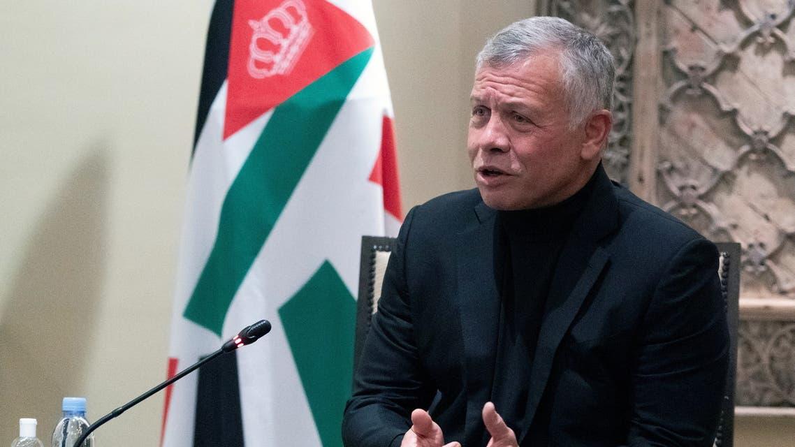 Jordan's King Abdullah II speaks during a meeting with Secretary of State Antony Blinken in Amman, May 26, 2021. (Reuters)