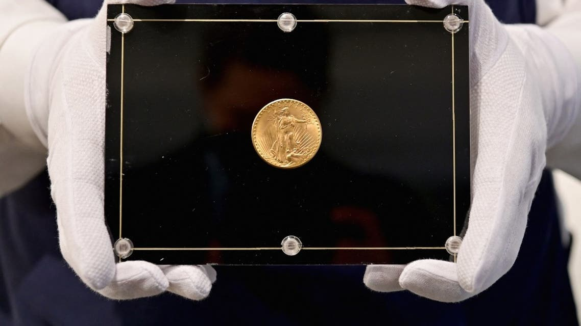 """The """"Double Eagle"""" was minted in 1933 and breaks the record for the most expensive coin in the world, set by a 1794 """"Flowing Hair"""" silver dollar that sold for $10 million in 2013. (Angela Weiss/AFP)"""