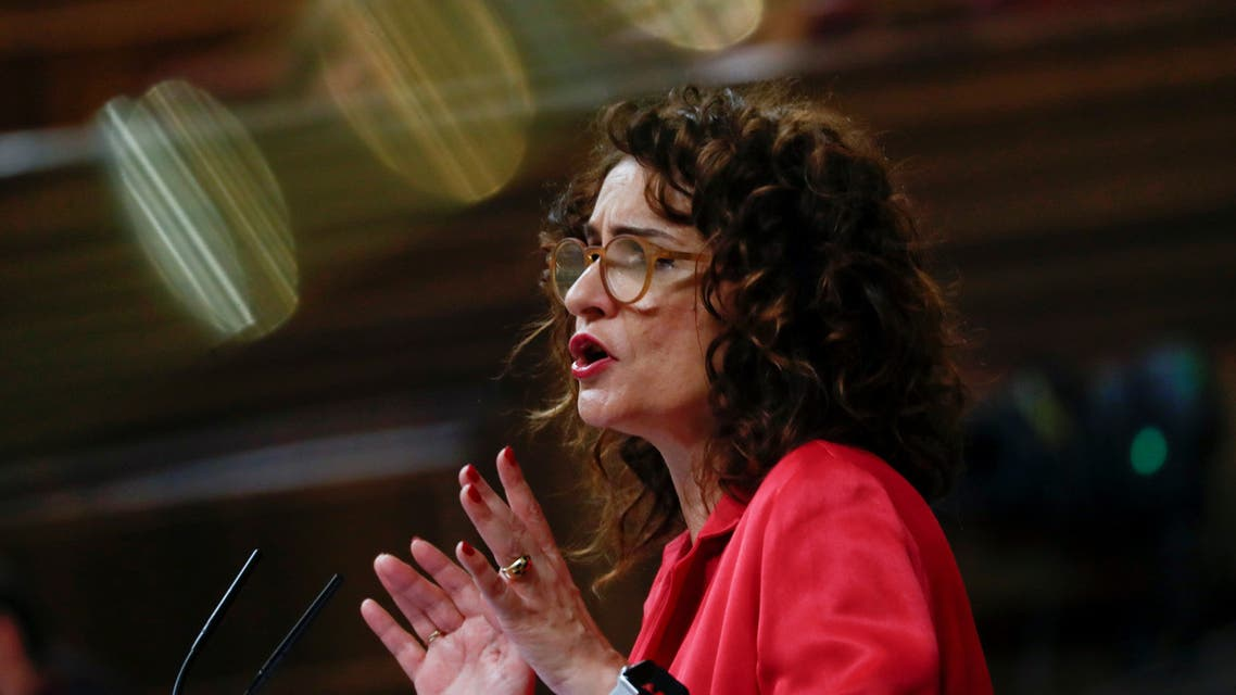 Spain's Treasury Minister Maria Jesus Montero attends a session at Parliament in Madrid, Spain, February 12, 2019. (Reuters)