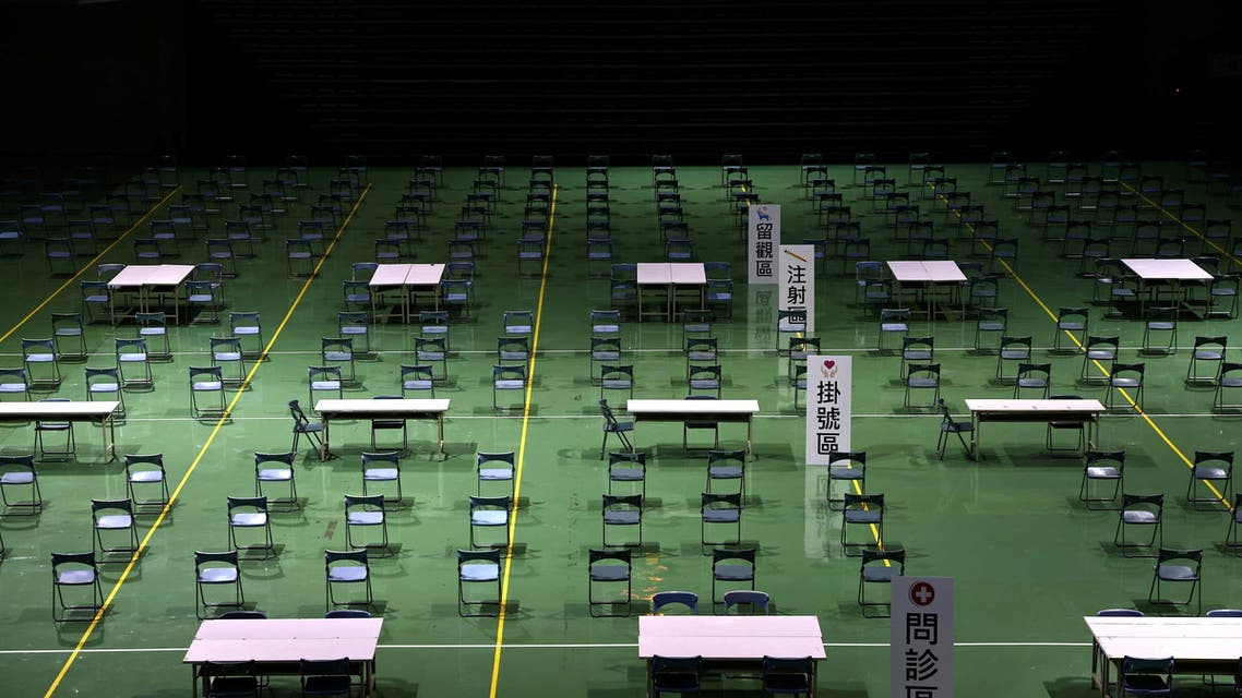 A general view of a basketball stadium, which is being converted into a makeshift vaccination site amid the coronavirus disease (COVID-19) outbreak, in New Taipei City, Taiwan June 7, 2021. (Reuters)