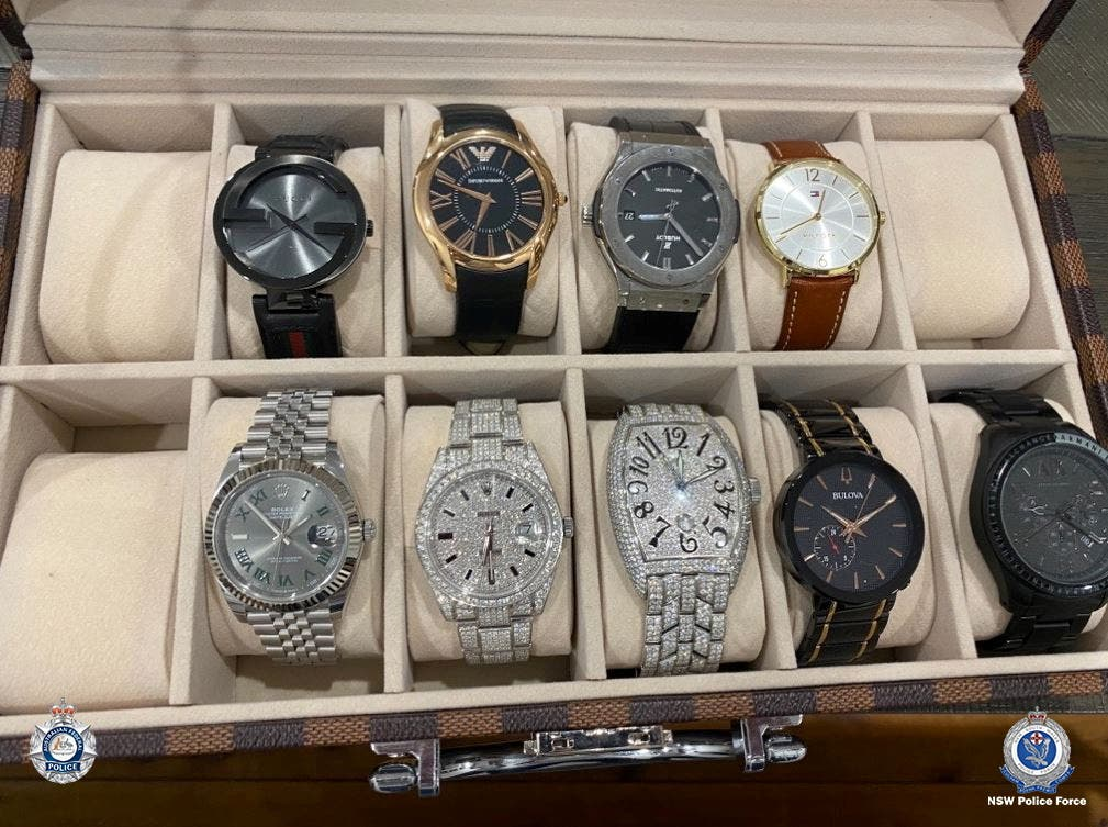 There in Australia confiscated luxury watches