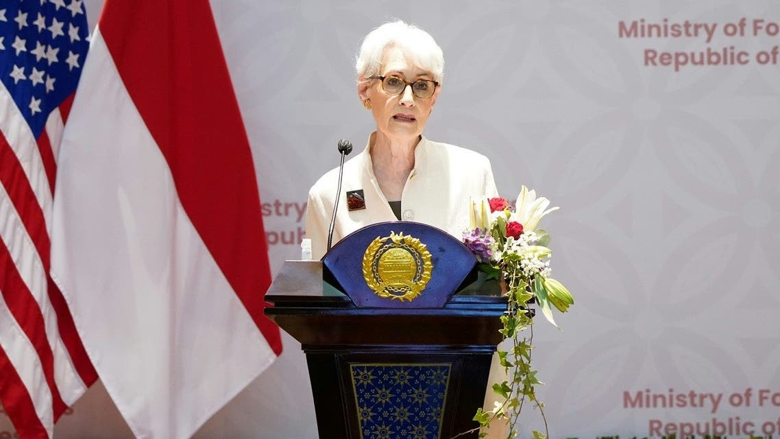 U.S. Deputy Secretary of State Wendy Sherman speaks during a press briefing with Indonesian Deputy Foreign Minister Mahendra Siregar following their meeting in Jakarta, Indonesia, May 31, 2021. (Reuters)