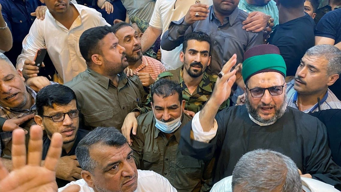 Qasim Muslih, who commands the Popular Mobilisation Forces (PMF), is seen after being released in Kerbala, Iraq June 9, 2021. (Reuters)