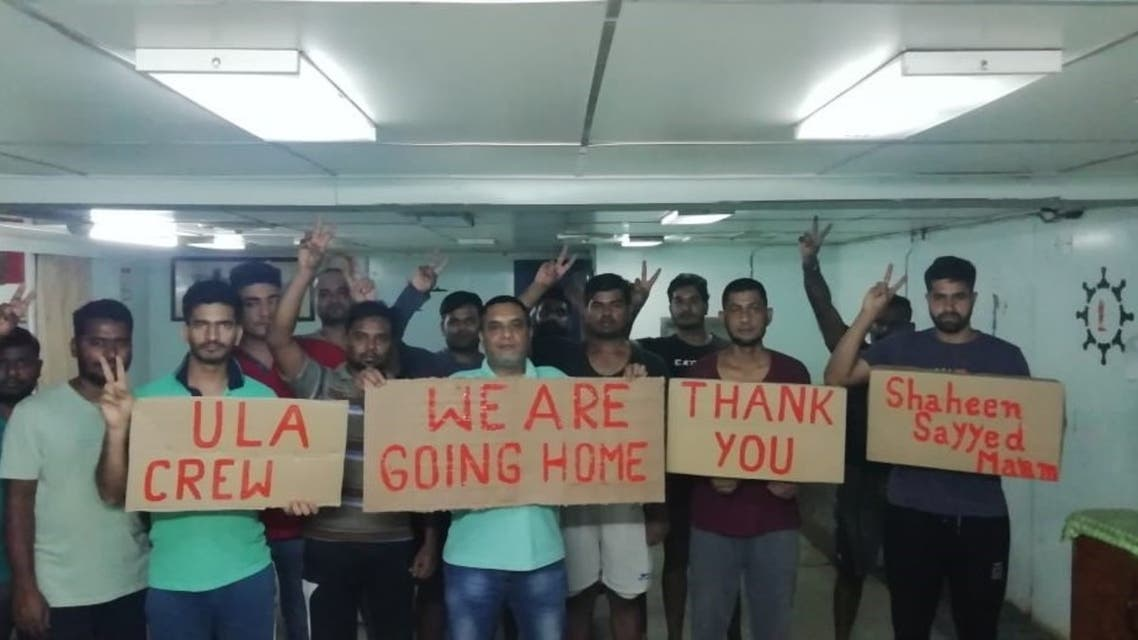 Onboard the vessel M/V Ula in Kuwait,19 abandoned seafarers have been on hunger strike in protest over unpaid wages backdated for more than a year. (Supplied)