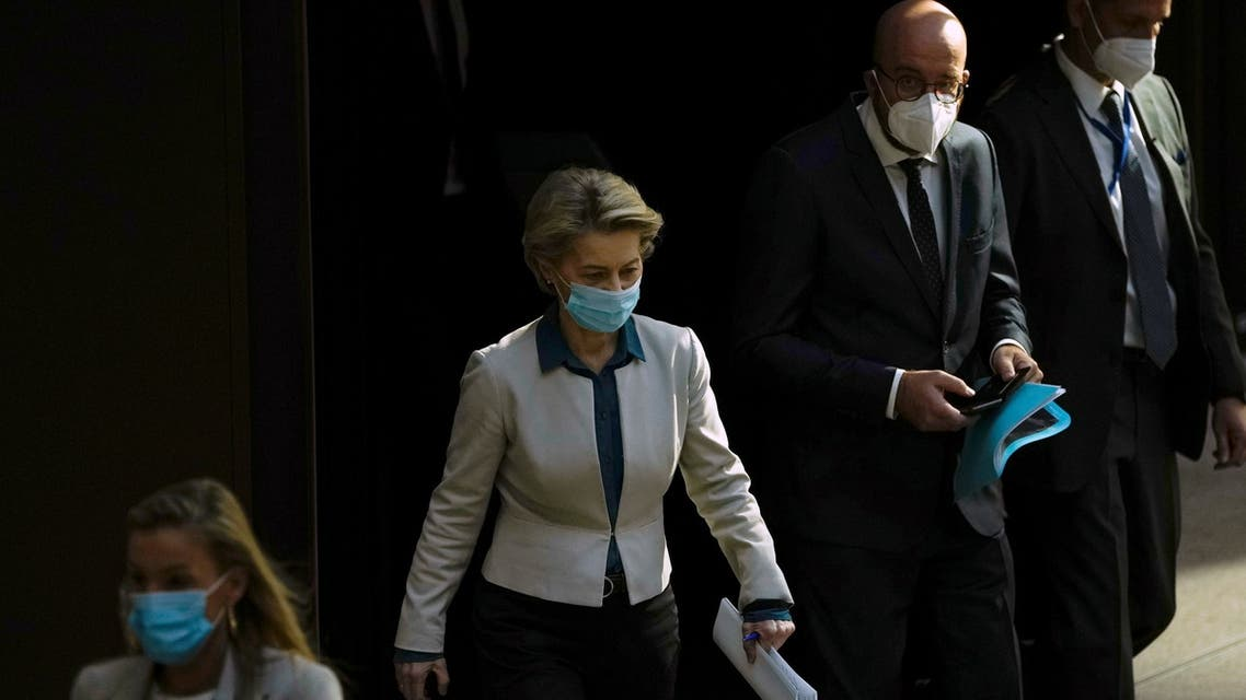 European Commission President Ursula von der Leyen and European Council President Charles Michel arrive for a joint news conference ahead of the G7 summit, at the EU headquarters in Brussels, Belgium June 10, 2021. (Reuters)