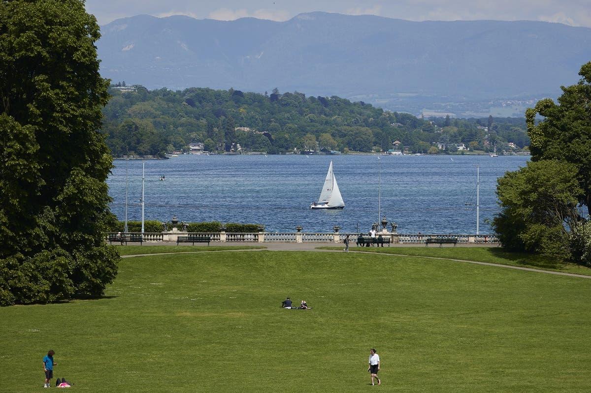 A boat is pictured on Lake Leman from the Villa La Grange, ahead of the June 16 summit between US President Joe Biden and Russian President Vladimir Putin in Geneva, Switzerland, on June 4, 2021. (Reuters)