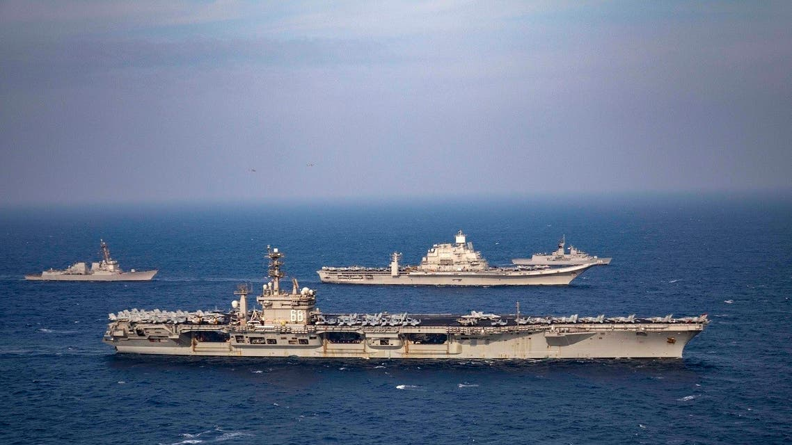 Aircraft carriers and warships participate in the second phase of Malabar naval exercise, a joint exercise comprising of India, US, Japan and Australia, in the Northern Arabian Sea on Nov. 17, 2020. (AP)