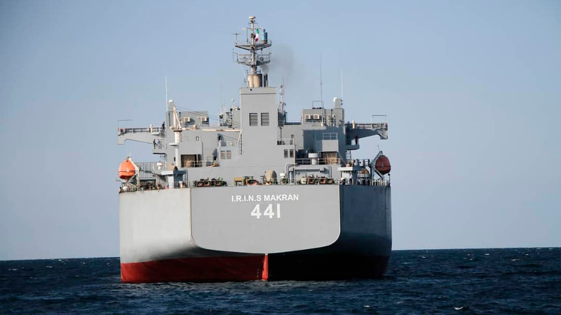 This photo released on Tuesday, Jan. 12, 2021 by the Iranian Army, shows Iran-made warship Makran in Iran. (AP)
