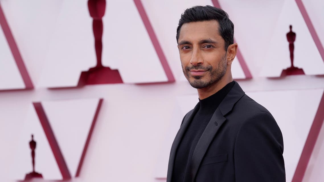 Riz Ahmed arrives at the Oscars on Sunday, April 25, 2021, at Union Station in Los Angeles. (AP)