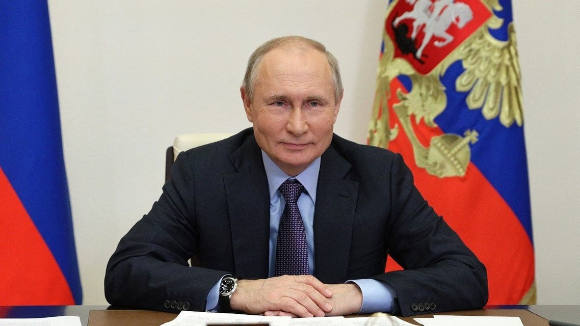 Russian President Vladimir Putin attends the launching ceremony of the Gazprom's Amur Gas Processing Plant, via a video conference, at the Novo-Ogaryovo state residence, outside Moscow, on June 9, 2021.  (Sergei Ilyin/Sputnik/AFP)