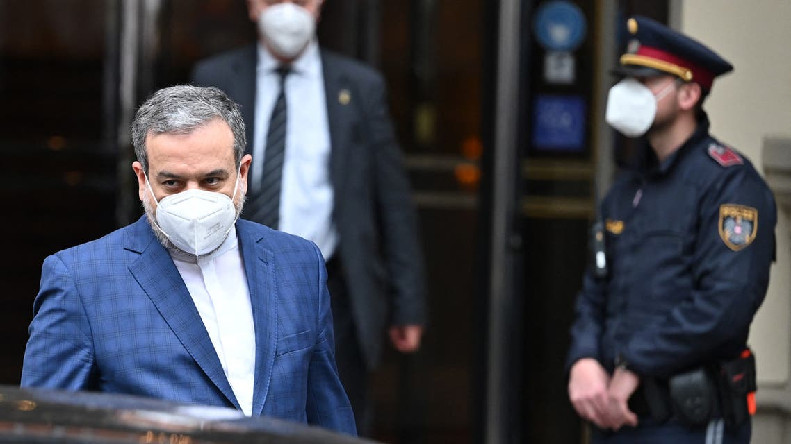 Abbas Araghchi, political deputy at the Ministry of Foreign Affairs of Iran, leaves the 'Grand Hotel Wien' after the closed-door nuclear talks in Vienna on May 07, 2021, where diplomats of the UK, EU, China, Russia and Iran hold their talks. (AFP)