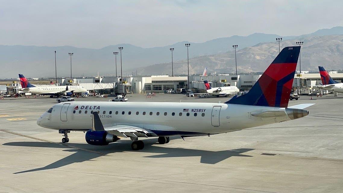 A Delta Airlines plane is seen at the gate at Salt Lake City International Airport (SLC), Utah, on October 5, 2020. (Daniel Slim/AFP)