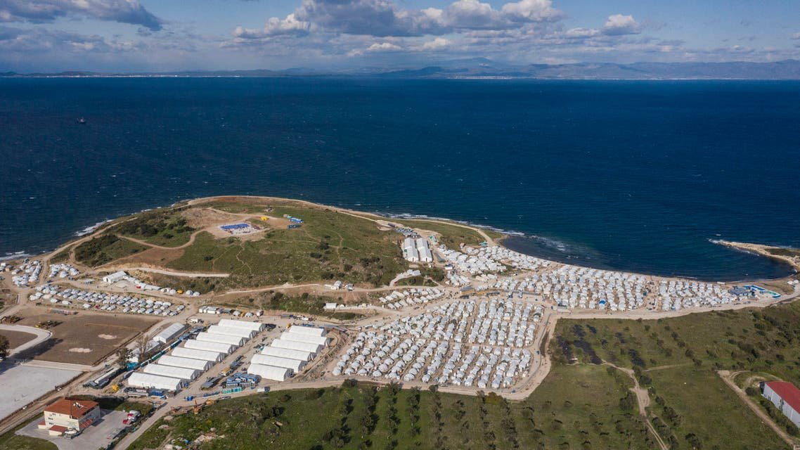 This photograph taken on March 30, 2021 shows an aerial view of the new refugee camp of Kara Tepe or Mavrovouni in Mytilene, on Lesbos. (AFP)
