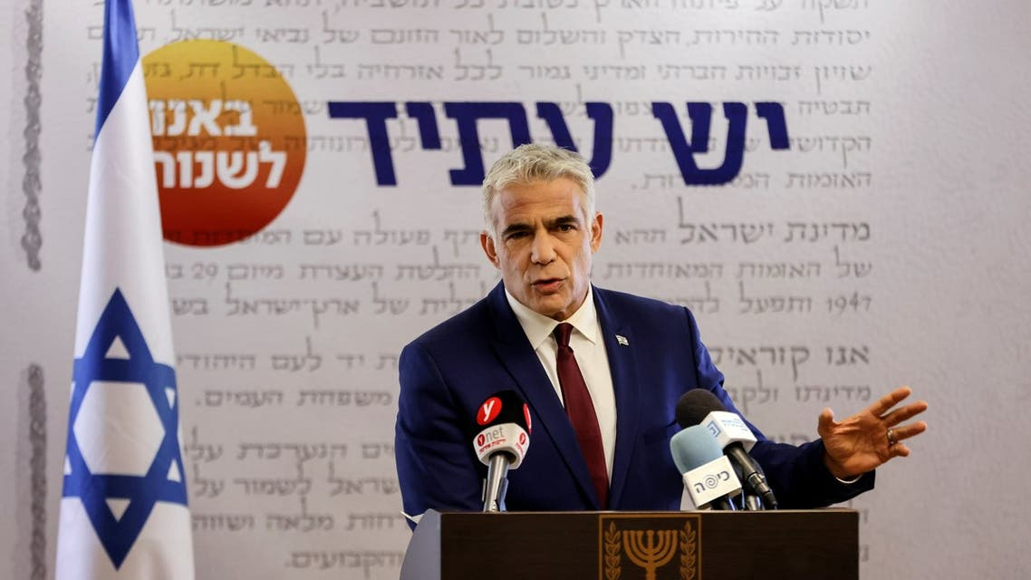 Yair Lapid speaks to the media in the Knesset, Israel's parliament, in Jerusalem, June 7, 2021. (Reuters)