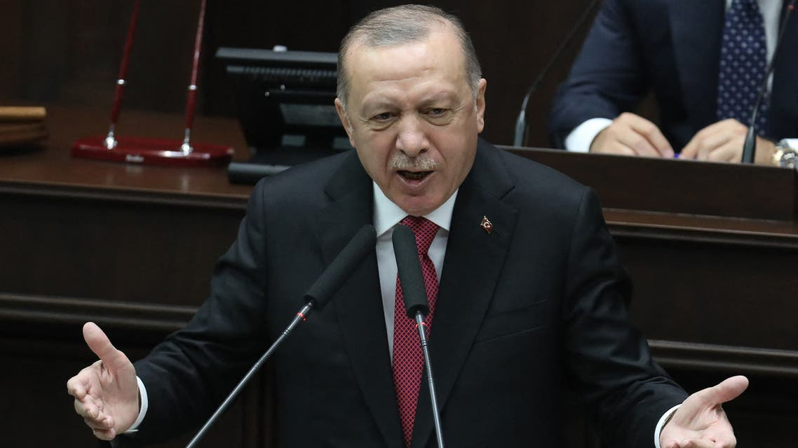 Turkish President and leader of Justice and Development (AK) ruling Party Recep Tayyip Erdogan speaks during a party group meeting at the Grand National Assembly of Turkey (GNAT), in Ankara on June 9, 2021.