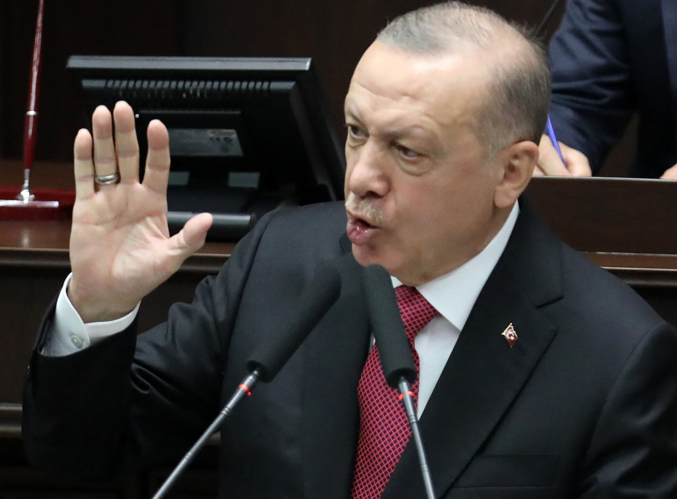 Turkish President and leader of Justice and Development (AK) ruling Party Recep Tayyip Erdogan speaks during a party group meeting at the Grand National Assembly of Turkey (GNAT), in Ankara on June 9, 2021. (Stock image)
