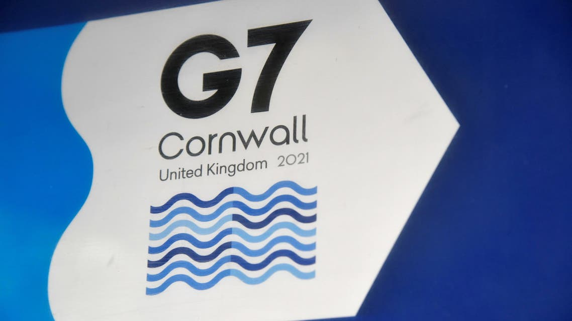 A G7 logo is seen on an information sign near the Carbis Bay hotel resort, where an in-person G7 summit of global leaders is due to take place in June, St Ives, Cornwall, southwest Britain May 24, 2021. Picture taken May 24, 2021. (Reuters)