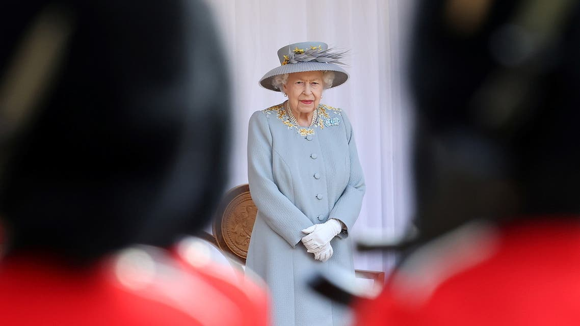 Britain's Queen Elizabeth attends a military ceremony in the Quadrangle of Windsor Castle to mark her official birthday, in Windsor, Britain June 12, 2021. Chris Jackson/Pool via REUTER