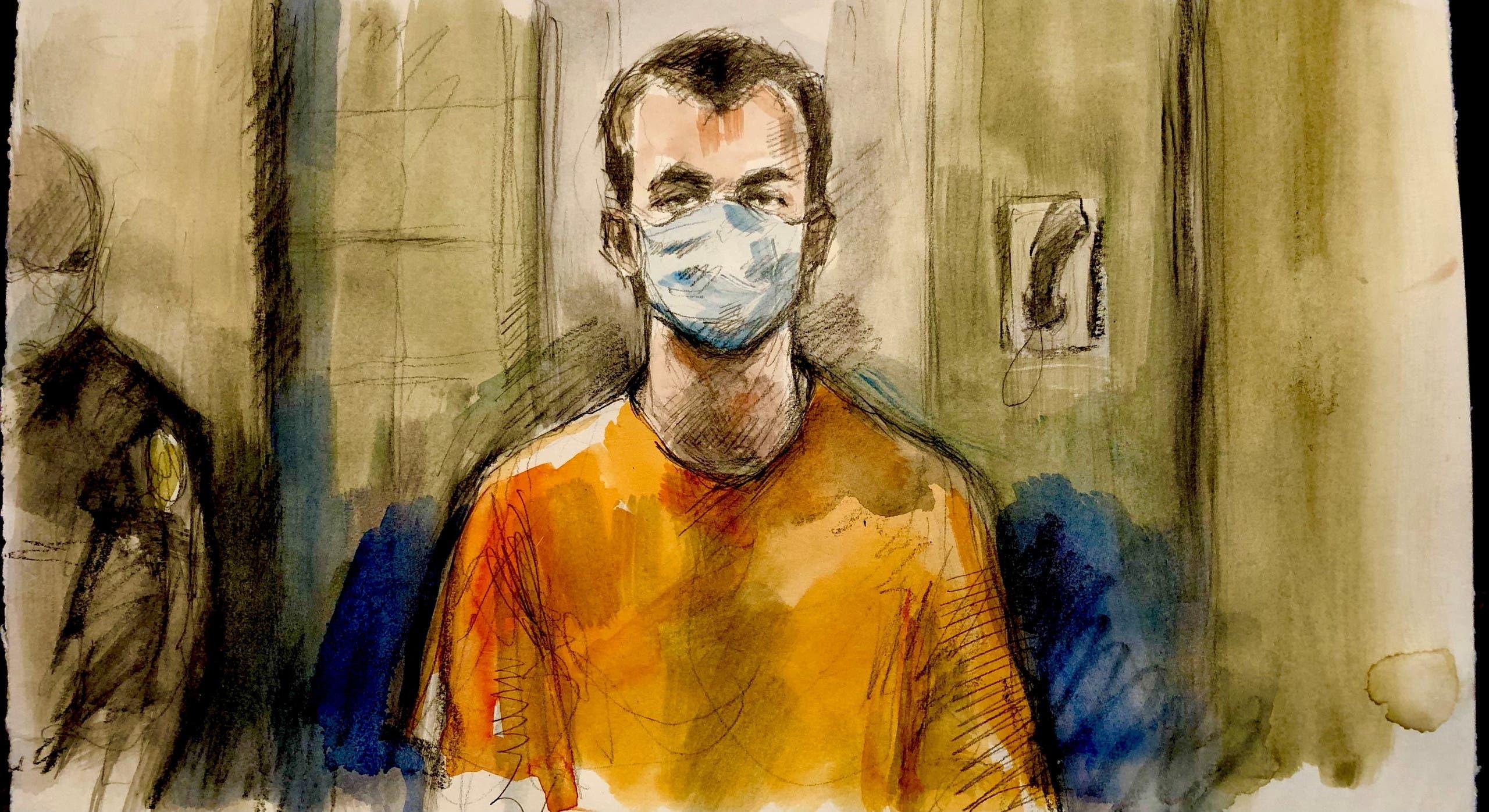 رسم لناثانيال فلتمان خلال مثوله أمام المحكمة