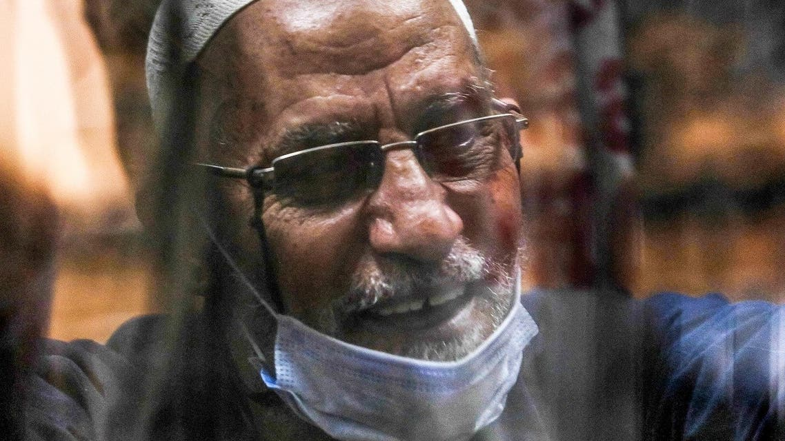 Mohamed Badie, current leader of Egypt's Muslim Brotherhood society, attends a trial session at the make-shift courtroom at the Torah Police Institute on the southern outskirts of Egypt's capital Cairo on June 6, 2021. (Khaled KamelAFP)