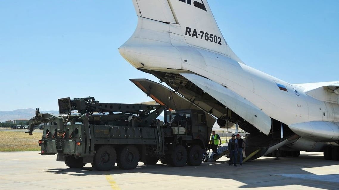 A Russian transport aircraft carrying parts of the S-400 air defense system landed at a military airport outside Ankara, Turkey, on Aug. 27, 2019. (Reuters)