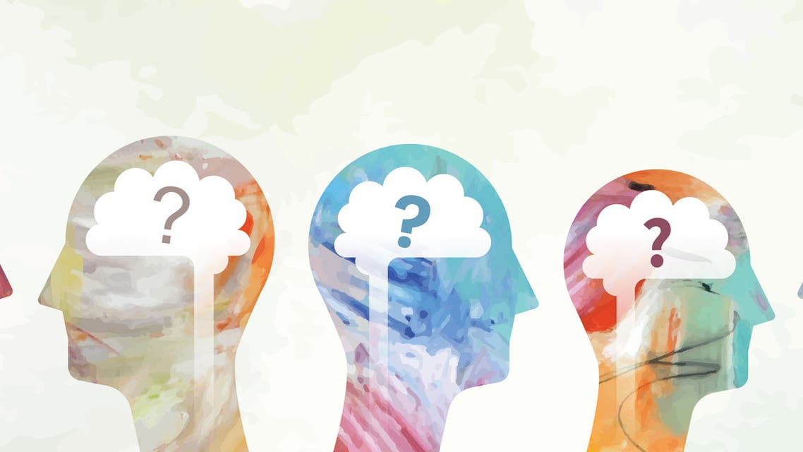 Heads With Brain And Question Marks stock illustration