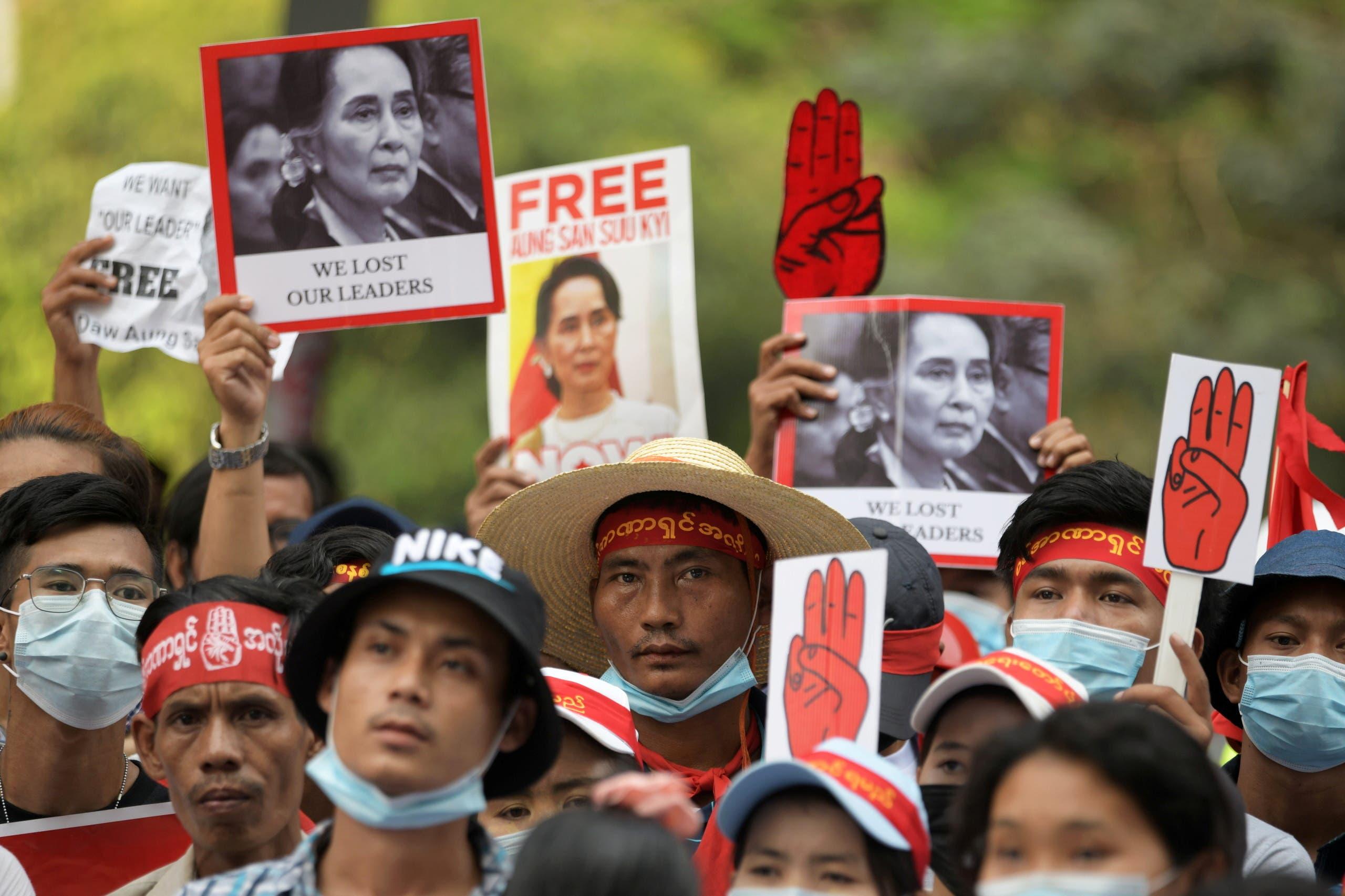 Protesters in Calling Yangon die Release of Aung San Suu Kyi (archive)