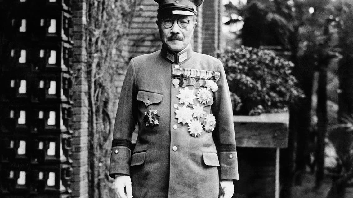 In this undated photo, former Japan's Prime Minister General Hideki Tojo is shown with medals outside of the Diet. The declassified U.S. military documents show the ashes of seven executed war criminals, including wartime Prime Minister Tojo, were scattered at sea off Yokohama from a U.S. army plane. (File photo: AP)