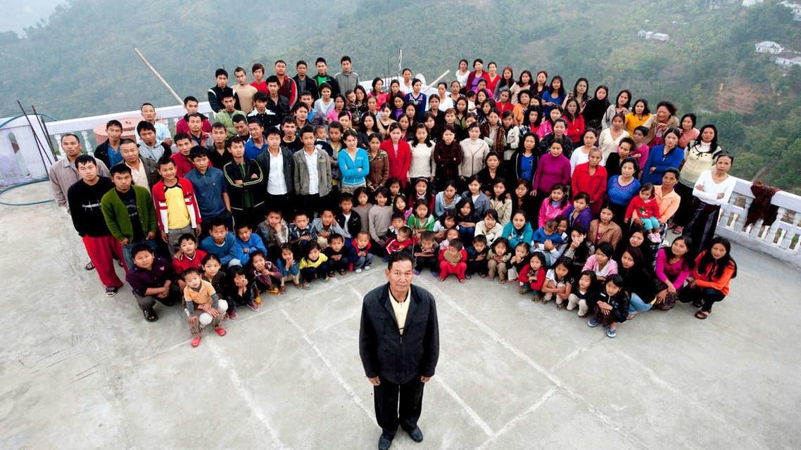 The Chana family in January 2011 in Baktawang, Mizoram, northeast India. (Twitter)