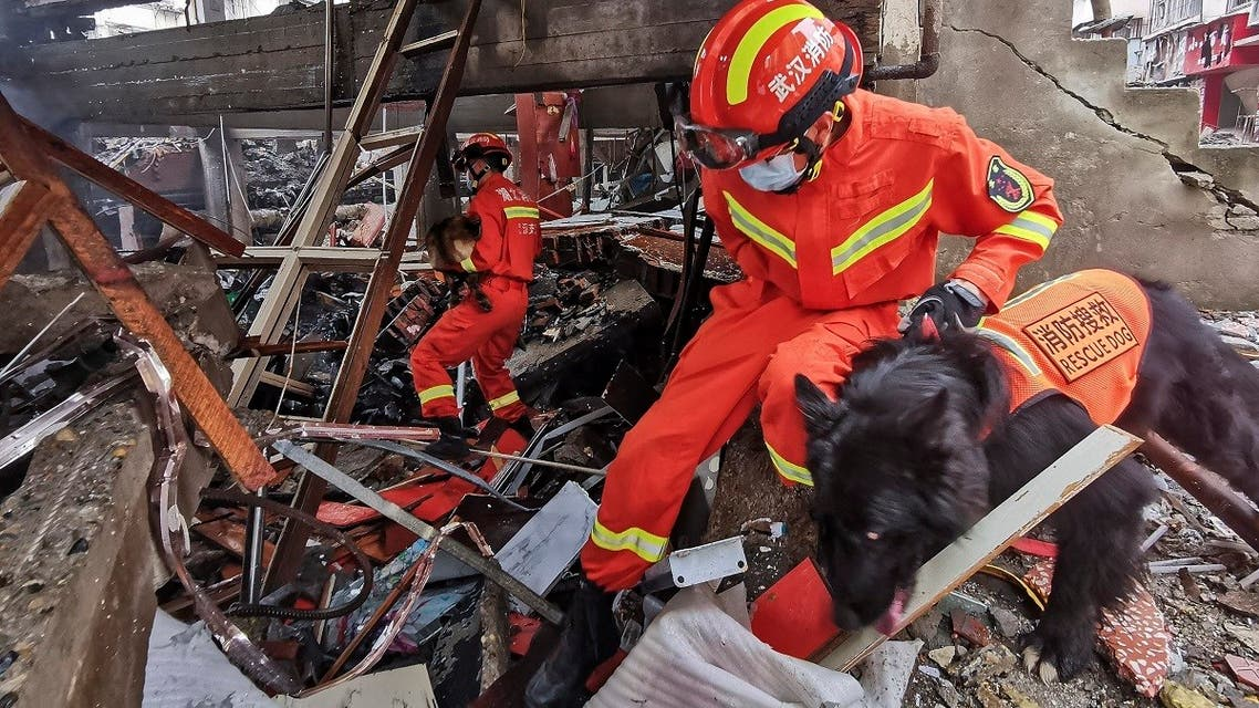 Rescue workers using sniffer dogs to search for survivors in the aftermath of a gas explosion in Shiyan city in central China's Hubei Province on Sunday, June 13, 2021. (Xiao Yijiu/Xinhua via AP)