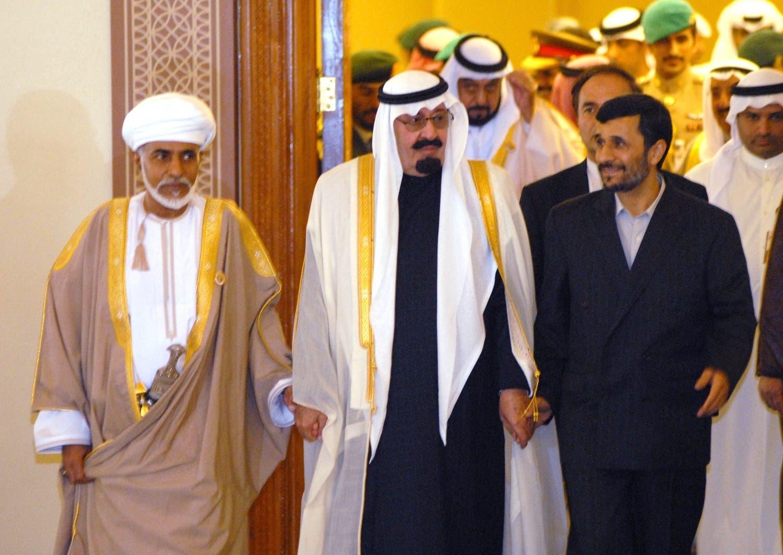 احمدی نژاد 2007 قطر میں ہونے والے جی سی سی سمٹ کے موقع پر سعودی شاہ عبداللہ مرحوم کے ہمراہ