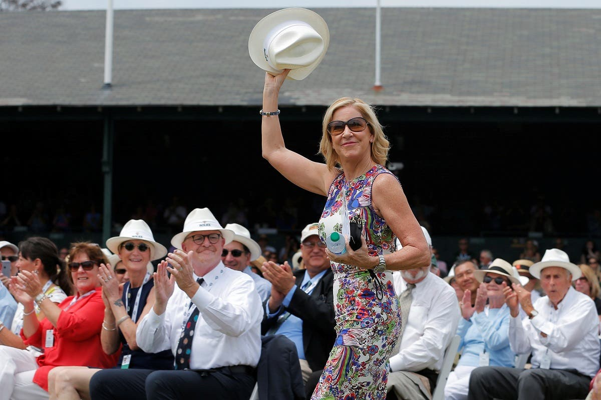 Hall of Fame player Chris Evert is introduced during induction ceremonies at the International Tennis Hall of Fame in Newport, Rhode Island, US, July 22, 2017. (Reuters)