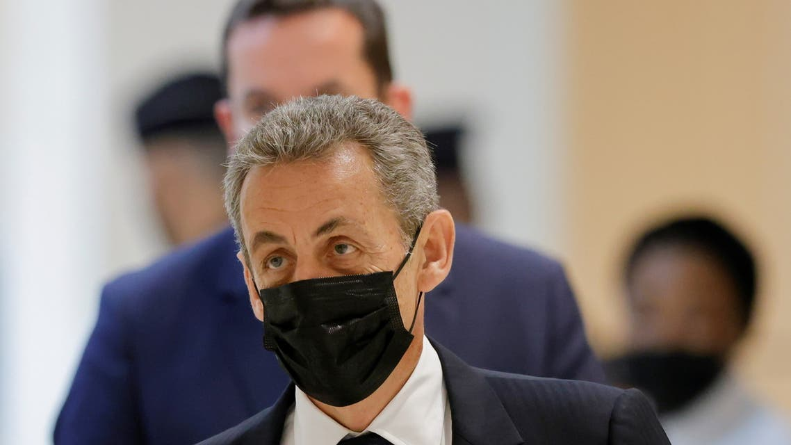 Former French President Nicolas Sarkozy arrives for a hearing in a trial over alleged illegal financing of his failed re-election campaign in 2012, with 13 other defendants, former officials of Bygmalion and representatives of the UMP, at the courthouse in Paris, France, June 15, 2021. (Reuters)
