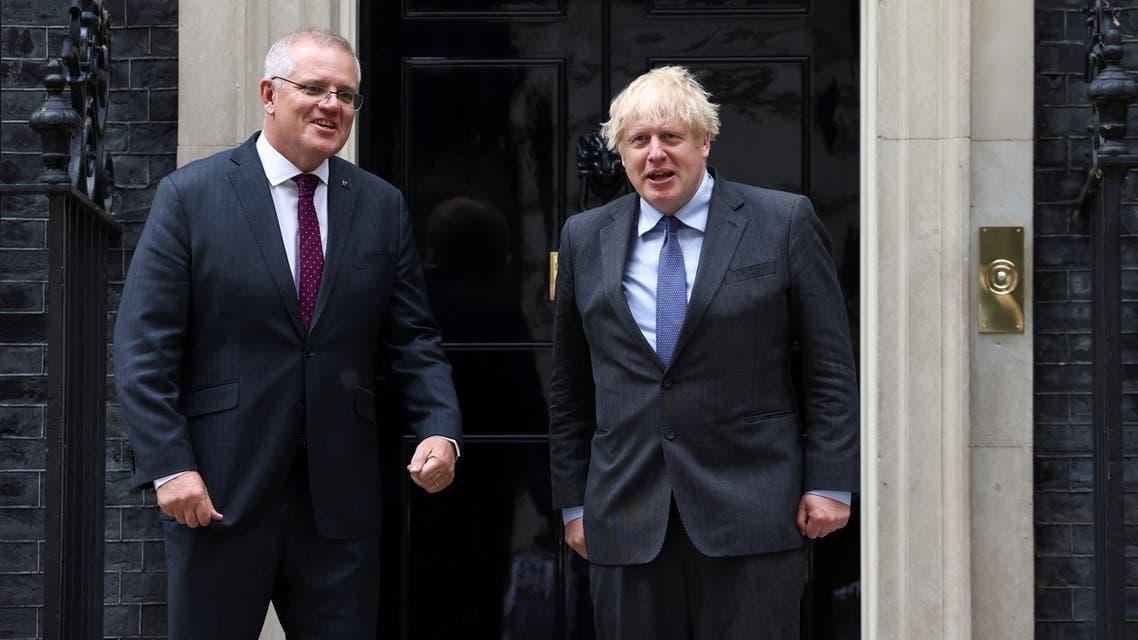 British Prime Minister Boris Johnson meets with Australian Prime Minister Scott Morrison at Downing Street in London, Britain, June 14, 2021. (Reuters)