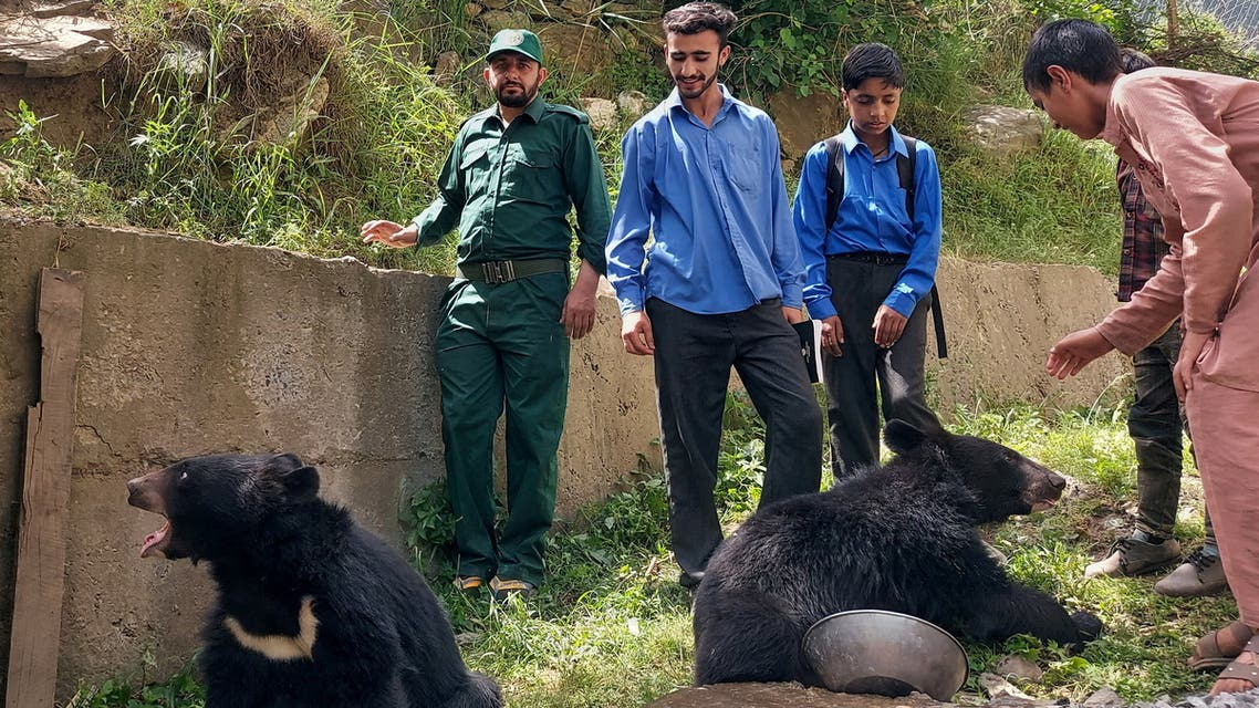 Students and residents play with a pair of Asian black bears, rescued a year ago near the Line of Control (LoC), at the Wildlife and Fisheries department in a Dawarian village in Neelum Valley, Pakistan-administrated Kashmir, June 12, 2021. Picture taken June 12, 2021. (Reuters)