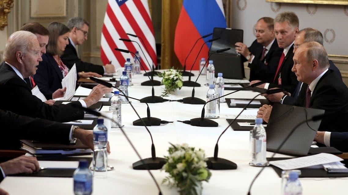US President Joe Biden and Russia's President Vladimir Putin meet for the US-Russia summit in Geneva, June 16, 2021. (Reuters)